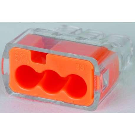 IDEAL 30-1033 3 PORT PUSH-IN CONNECTORS - ORANGE (BOX of 100)