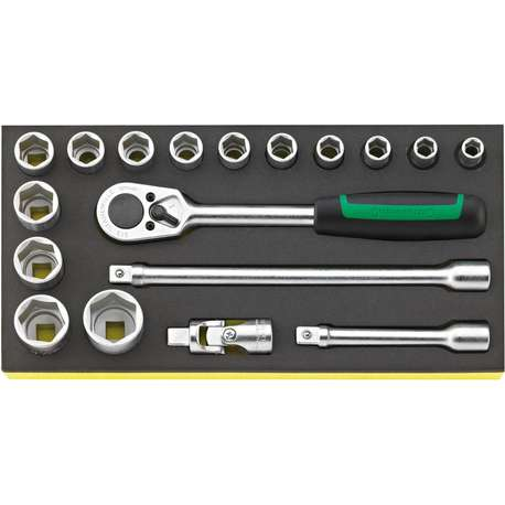 """Stahlwille 96838781 1/2"""" Hex Socket Set (10mm - 30mm) with Ratchet in TCS Foam - 18 Pieces"""