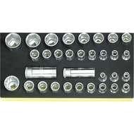 "Stahlwille 96838191 1/2"" Bi-Hex (8mm - 30mm) & Hex (10mm - 32mm) Socket Set in TCS Foam - 32 Pieces"