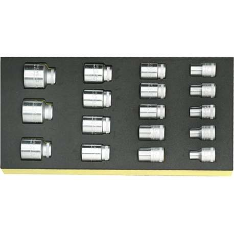 """Stahlwille 96838177 1/2"""" Hex Socket Set (10mm - 32mm) in TCS Foam - 17 Pieces"""