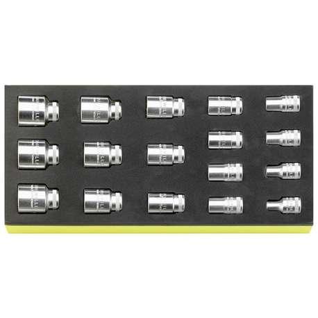 "Stahlwille 96838780 1/2"" Bi-Hex Socket Set (3/8"" - 1 1/4"") in TCS Foam - 17 Pieces"