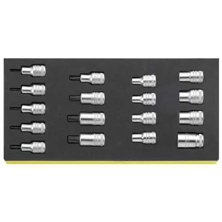 "Stahlwille 96838763 1/2"" Torx Socket Set (E10 - E24 & T20 - T60) in TCS Foam - 17 Pieces"