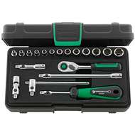 """Stahlwille 96011180 1/4"""" Hex Socket Set (3.5mm - 13mm) with Quick Release Ratchet - 19 Pieces"""