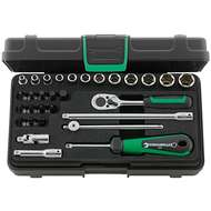 """Stahlwille 96011138 1/4"""" Hex Socket Set (4mm - 14mm) with Inhex, Slotted, Pozidriv & Phillips Sockets and Ratchet - 30 Pieces"""