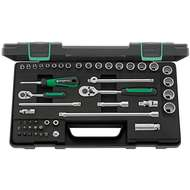 """Stahlwille 96012047 3/8"""" Bi-Hex (10mm - 22mm) & 1/4"""" Hex (4mm - 9mm) Socket Set with Ratchets - 48 Pieces"""