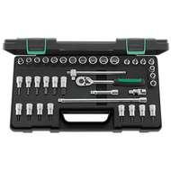 "Stahlwille 96022119 3/8"" Bi-Hex (8mm - 19mm) & Torx (E5 - E14 & T9 - T40) Socket Set with Ratchet - 37 Pieces"