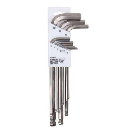 Bahco BE-9770I Set of long ball end stainless steel hexagon offset screwdrivers, metric, 9 pcs