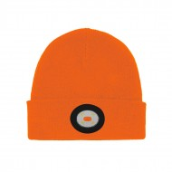Unilite BE-02+O Hi-Vis Orange Beanie Hat With Rechargeable LED