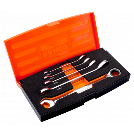 Bahco 1RM/S5 8mm - 19mm Combination Ratcheting Wrench Set – 5 Pieces