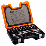 """Bahco S410 1/4"""" (4mm - 13mm) & 1/2"""" (10mm - 24mm) Socket Set with Ratchets & Wrenches - 41 Pieces"""