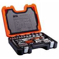 Bahco S910 Square Drive Socket and Deep Socket Set with Hex Profile and Combination Spanner Set - 92 Piece
