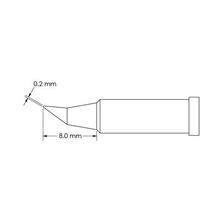 Metcal GT4-CN0002R Bent, Ø 0.2mm x 8mm GT4 Conical Soldering Tip