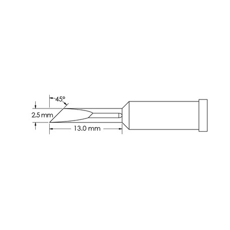 Metcal GT4-KN0025P Power, 2.5mm x 13mm, 45° GT4 Knife Soldering Tip