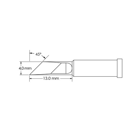 Metcal GT4-KN0040P Power, 4mm x 13mm, 45° GT4 Knife Soldering Tip