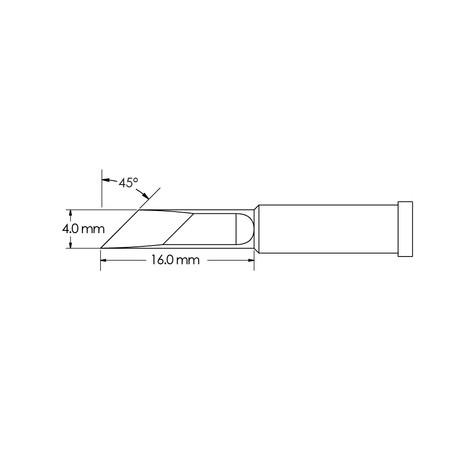 Metcal GT4-KN0040S 4mm x 16mm, 45° GT4 Knife Soldering Tip