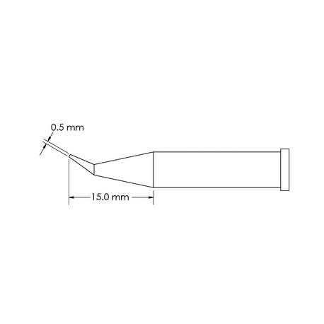 Metcal GT6-CN1505R Bent, Reach, Ø 0.5mm x 15mm GT6 Conical Soldering Tip