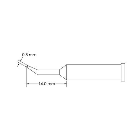 Metcal GT6-CN1608R Bent, Access, Ø 0.8mm x 16mm GT6 Conical Soldering Tip