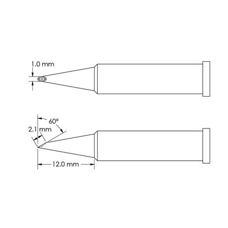 Metcal GT6-HF6010V Concave, 60° Bevel x Length 2.1mm, Ø 1mm x Length 12mm GT6 Hoof Soldering Tip
