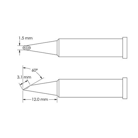 Metcal GT6-HF6015V Concave, 60° Bevel x Length 3.1mm, Ø 1.5mm x Length 12mm GT6 Hoof Soldering Tip