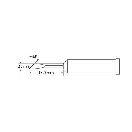 Metcal GT6-KN0025S 2.5mm x 16mm, 45° GT6 Knife Soldering Tip