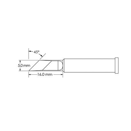 Metcal GT6-KN0050S 5mm x 16mm, 45° GT6 Knife Soldering Tip
