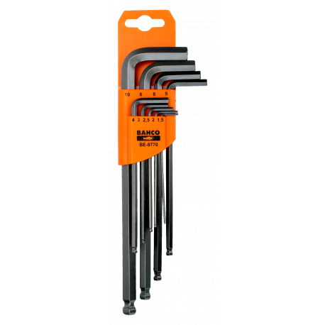 Bahco BE-9770 Long Ball End Hex L-Key Set – 9 Pieces