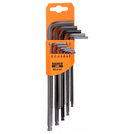 Bahco BE-9780 Long Ball End Hex L-Key Set – 12 Pieces