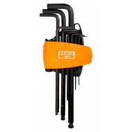 Bahco BE-9688 Long Ball End Hex L-Key Set with Dual-Component Compact Holder – 9 Pieces