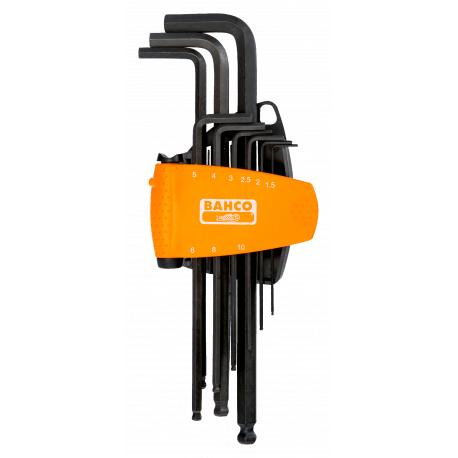 Bahco BE-9678 Long Ball End Hex L-Key Set with Dual-Component Compact Holder – 9 Pieces