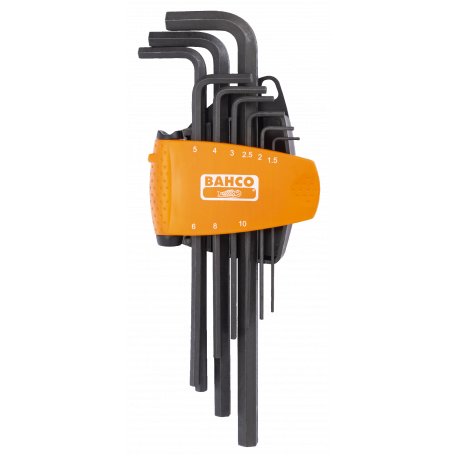 Bahco BE-9588 Long Hex L-Key Set with Dual-Component Compact Holder – 9 Pieces