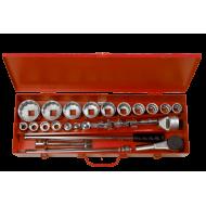 """Bahco 8840M 3/4"""" Bi-Hex Socket Set (19mm - 60mm) - 24 Pieces"""
