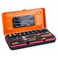 """Bahco 6715MZ 1/4"""" Hex Socket Set (4mm - 13mm & 3/16"""" - 1/2"""") with Pear Head Ratchet - 25 Pieces"""