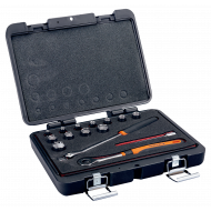 """Bahco 7440ME 3/8"""" Hex Socket Set (6mm - 19mm) with Round Headed Ratchet - 15 Pieces"""