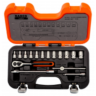 """Bahco S160 1/4"""" Hex Socket Set (4mm - 13mm) with Ratchet - 16 Pieces"""