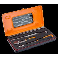 "Bahco A6716DM 1/4"" Bi-Hex Socket Set (5.5mm - 14mm) with Pear Head Ratchet - 15 Pieces"