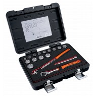 """Bahco A7440DME 3/8"""" Bi-Hex Socket Set (9mm - 22mm) with Round Headed Ratchet - 17 Pieces"""