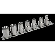 """Bahco 7400TORX-ER/S7 3/8"""" Torx Socket Set on Rail (E8 - E18) - 7 Pieces"""