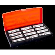 """Bahco S1612L 1/2"""" Deep Hex Socket Set (10mm - 21mm) - 12 Pieces"""