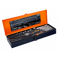 """Bahco 6720NM 1/4"""" Hex Socket Set (4mm - 13mm) with Round Head Ratchet and Lilliput Spanner Set - 32 Pieces"""