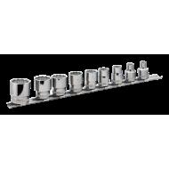 "Bahco 7409MB 3/8"" Bi-Hex Socket Set on Rail (7mm - 22mm) - 9 Pieces"