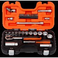 "Bahco S330AF 3/8"" Hex Socket Set (1/4"" - 7/8"") with Ratchet & 1/4"" Bits - 34 Pieces"
