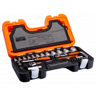 """Bahco S560 1/4"""" (4mm - 13mm) and 1/2"""" (10mm - 32mm) Bi-Hex Socket Set with Ratchets - 57 Pieces"""