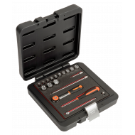 """Bahco 6719MHR 1/4"""" Hex Socket Set (4mm - 14mm) with Ratchet - 19 Pieces"""