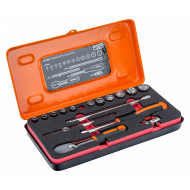 """Bahco 6719SM 1/4"""" Hex Socket Set (4mm - 13mm) with Ratchet - 17 Pieces"""