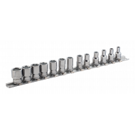 """Bahco 6713MH 1/4"""" Hex Socket Set on Rail (4mm - 14mm) - 13 Pieces"""