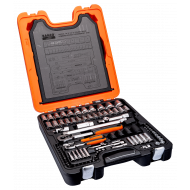 """Bahco S108 1/4"""" & 1/2"""" Hex Socket Set (4mm - 32mm) with Combination Spanners & Ratchets - 108 Pieces"""