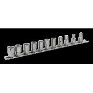 "Bahco 6711MB 1/4"" Bi-Hex Socket Set on Rail (5mm - 14mm) - 11 Pieces"