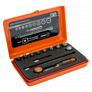 """Bahco 6712RN 1/4"""" Hex Socket Set (4mm - 13mm) with Round Head Ratchet - 12 Pieces"""