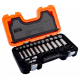 "Bahco S330L 3/8"" Standard & Deep Hex Socket Set (10mm - 22mm) with Ratchet & Bits - 53 Pieces"