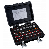 """Bahco 7422MBR 3/8"""" Bi-Hex Socket Set (6mm - 22mm) with Round Headed Ratchet - 22 Pieces"""